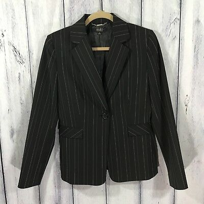(Alex Marie Womens Blazer Jacket Size 6 Black Pinstripe Lined Career Work)