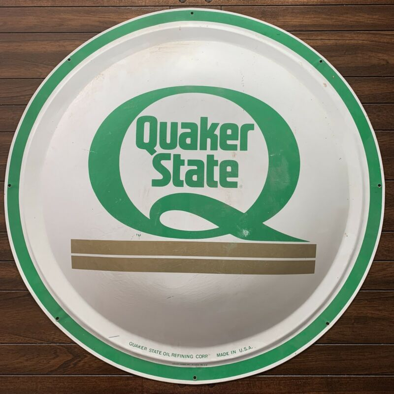 "Vintage Quaker State Round Metal Sign 24"" x 24"" Motor Oil Domed"