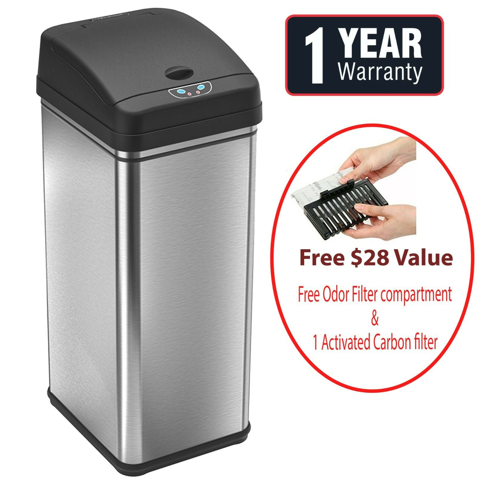 13 Gallon Automatic Touch-free Sensor Stainless Steel Trash Can 50R Kitchen