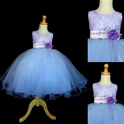 NEW Lilac Lace Tulle Dress w/ Fishing Line Flower Girl Birthday Easter #015](Lilac Tulle)
