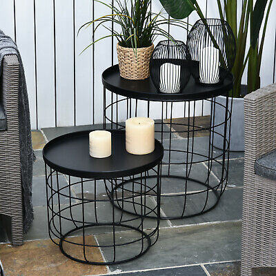 Outsunny Set Of 2 Webbed Frame Side Table w/Saucer Top Stacking Patio Home Black