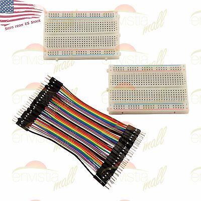 2X 400 Point Solderless Prototype Breadboard Protoboard+40 DuPont 10cm M-M Wires