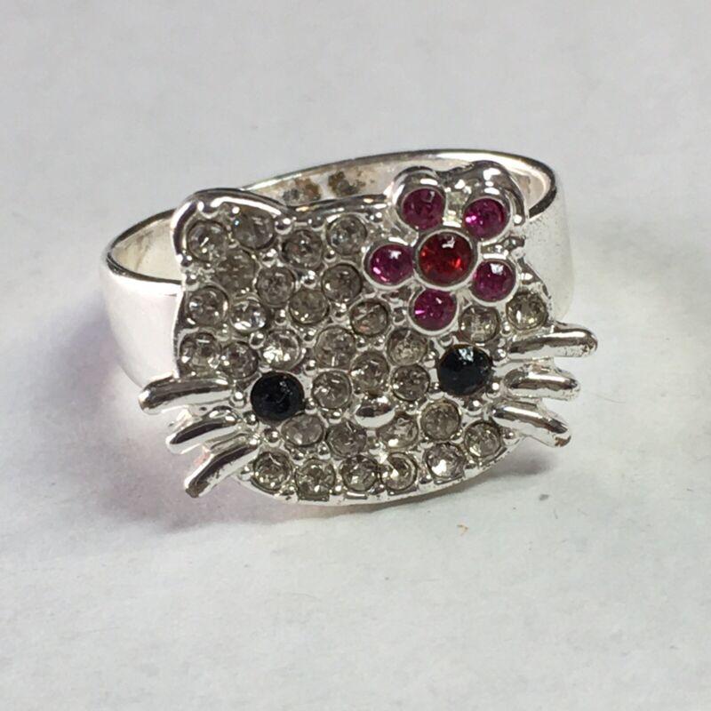 Hello Kitty Adjustable Silver Tone Rhinestone Ring S/M