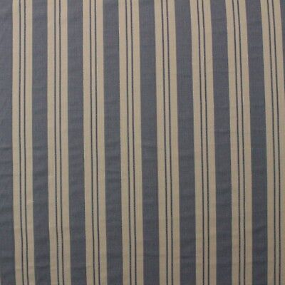 DENIM BLUE & VELLUM SAND STRIPE WOVEN MULTIPURPOSE FURNITURE FABRIC BY YARD (Blue Vellum)