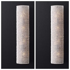 2 BRAND NEW CRYSTAL HALO GRAND WALL SCONCES LIGHT FIXTURES