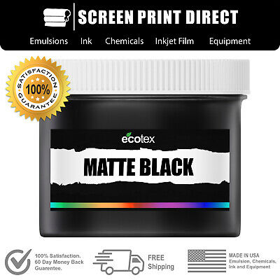 Ecotex Matte Black - Premium Plastisol Ink For Screen Printing - 8oz