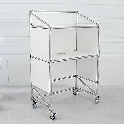System 180 Technik-Stehpult Rednerpult Stehpult rollbar weiß Edelstahl Weiß Stehpult