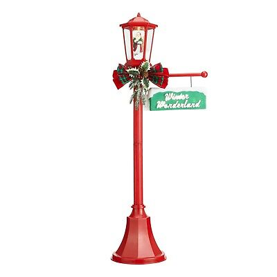 Holiday Time Snow Blowing Santa Light Up Lamp Post Indoor/Outdoor Decoration
