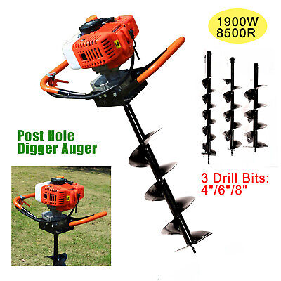 52cc Post Hole Digger Gas Powered Earth Auger Borer Fence Ground3 Drill Bits Us