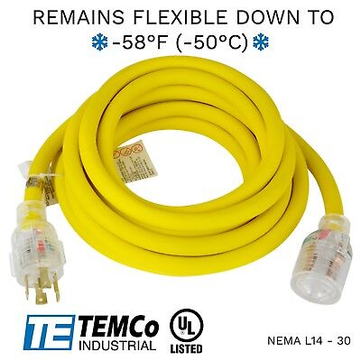 Temco 20ft Cold Weather Generator Cord Yellow Nema L14-30 125250v 30a Ul