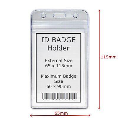 Vertical Id Badge Holder - Int 90 X 60 Mm - Ext 115 X 65 Mm - Uk Stockist