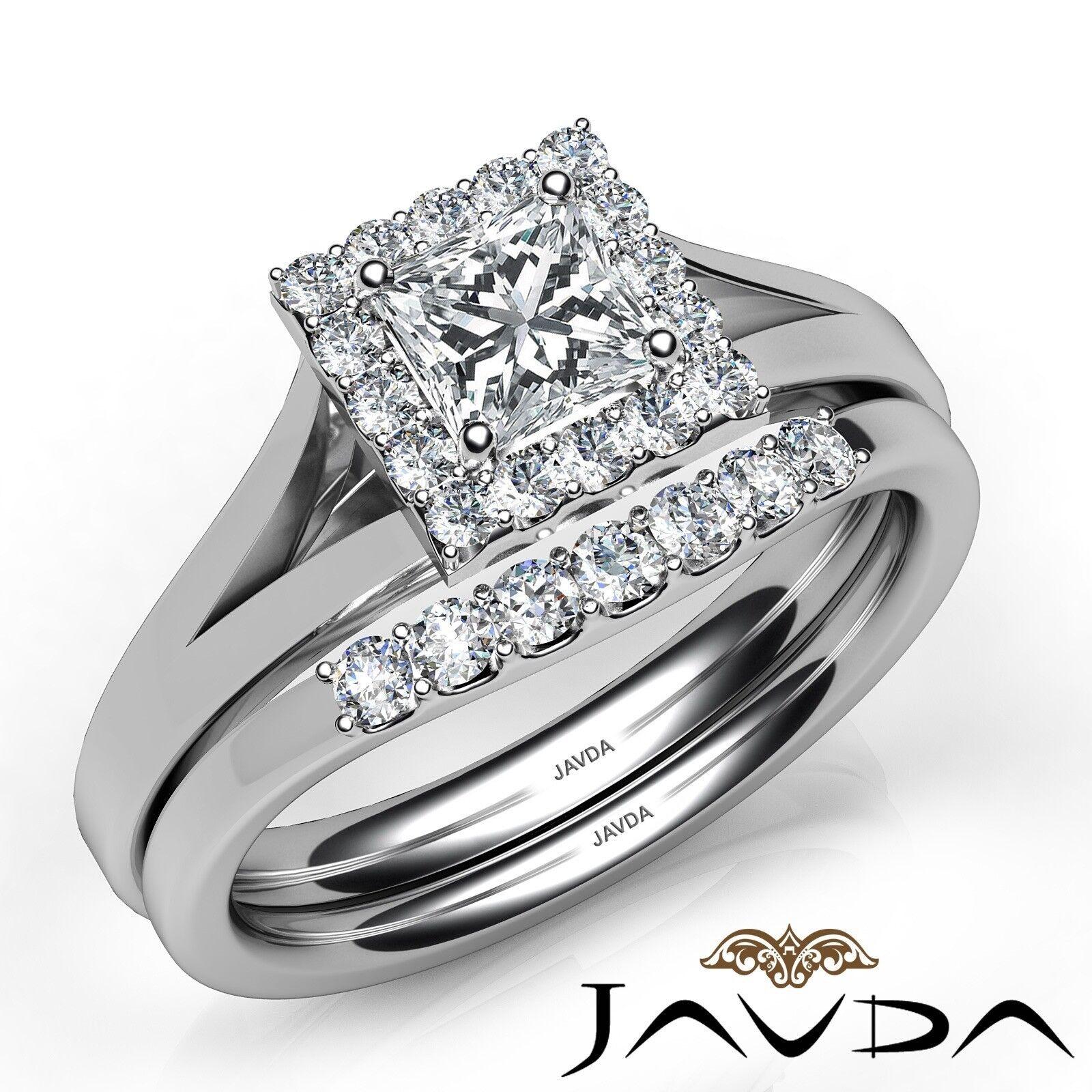 0.93ctw Halo Pave Bridal Princess Diamond Engagement Ring GIA F-VVS1 White Gold 1