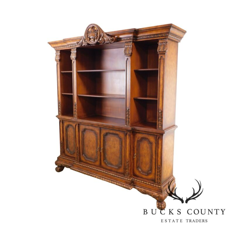 French Renaissance Louis XIII Style Large Carved Paw Foot Bookcase Cabinet