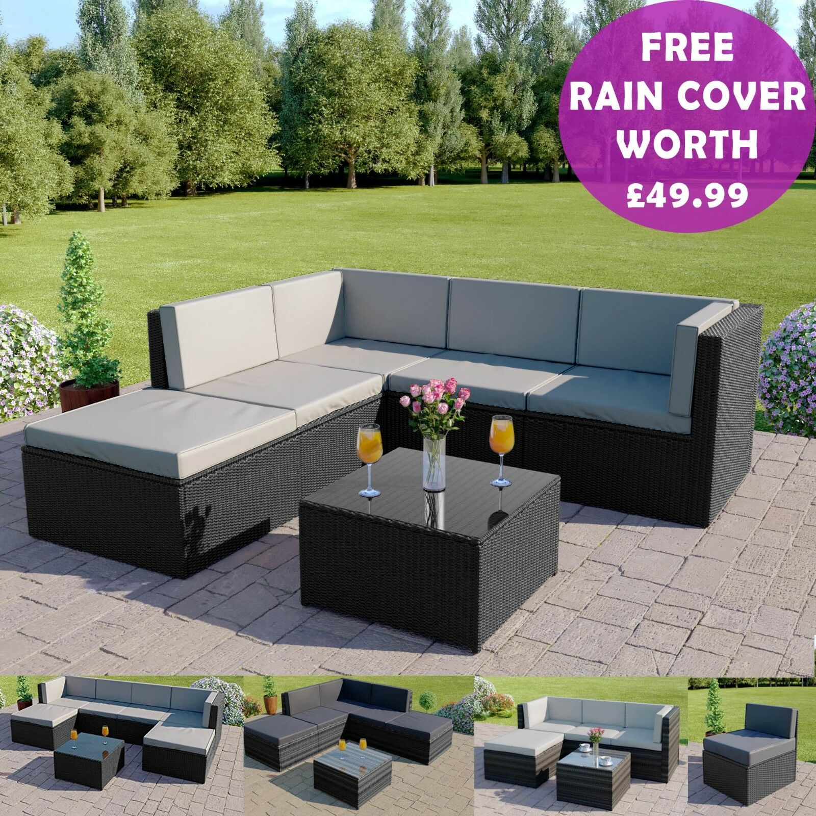 Garden Furniture - Black Grey Corner Modular Rattan Weave Sofa Set Garden Furniture FREE COVER