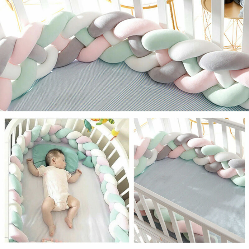Baby Crib Bumper Thicken Pad Comfortable Soft Cotton Nursery Toddler Bed Protect