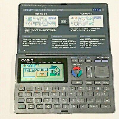 🧮 Vintage Computing CASIO COLOUR DIGITAL DIARY CSF-4650A 64KB Working w/ Manual