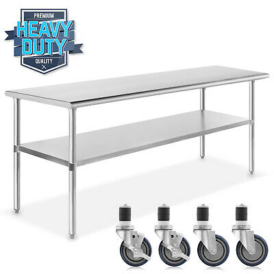 Stainless Steel Commercial Kitchen Work Food Prep Table W 4 Casters 24 X 72