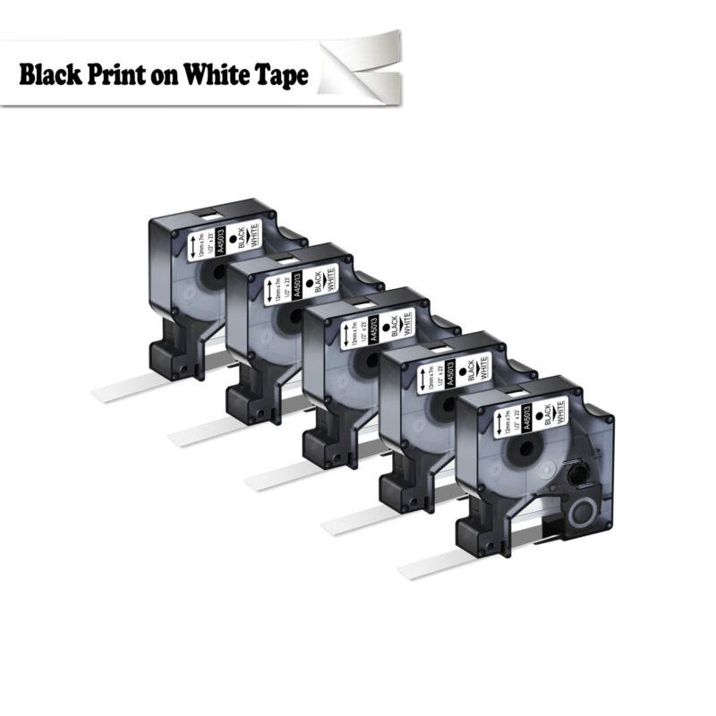 """5PK For Dymo D1 Black on White S0720530 Label Tape Cassette 45013 1/2"""" 12mm"""