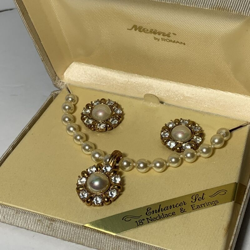 VINTAGE ROMAN Melini Gold Pearl Crystal Necklace Enhancer Pierce Earring Set BOX