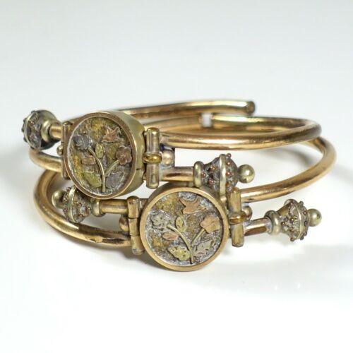 Antique VICTORIAN ETRUSCAN REVIVAL Bypass GF Hinged Bangle Bracelet Set Pair