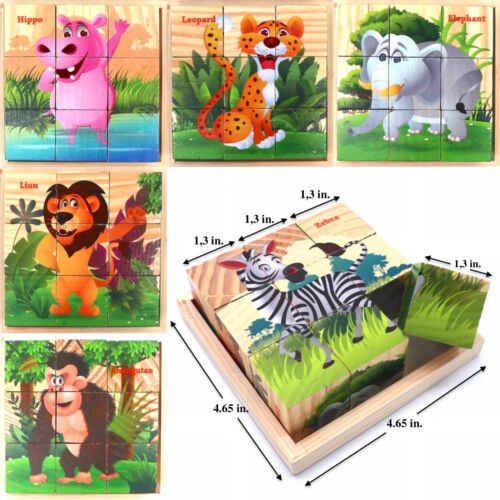 Wooden Cube Blocks For Kids Toddlers Educational Toy Puzzle - Jungle