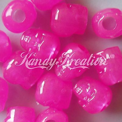 100 Hot Pink Glow in the dark Skull pony beads for kandi paracord craft - Glow In The Dark Plastic Beads
