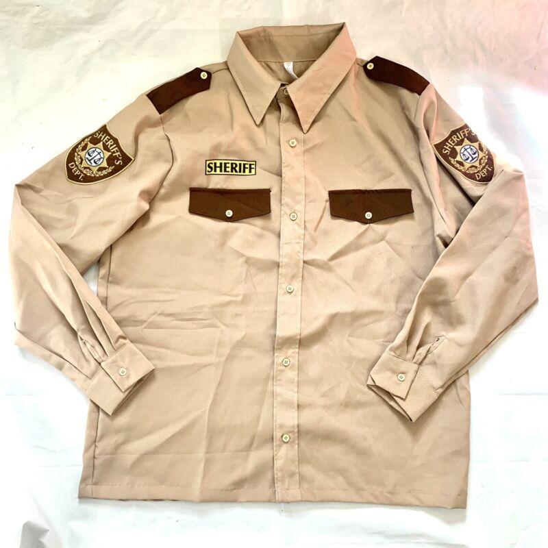 Halloween Sheriffs Uniform Costume Long Sleeve Shirt Only Adult Standard Police