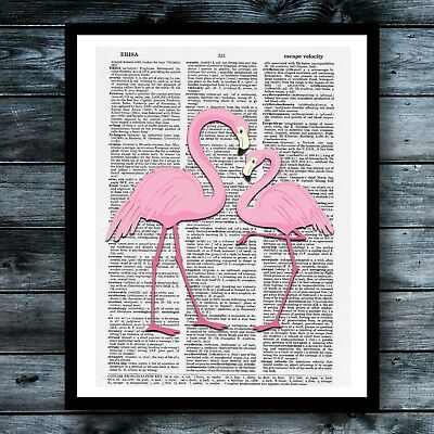 Vintage Art Dictionary Poster Flamingo Print Pink Wreath Cute Wall Room Decor   ()
