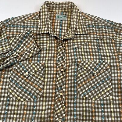 1970s Mens Shirt Styles – Vintage 70s Shirts for Guys Vintage 1960s 1970s Mens Small Western Multicolor Check Pearl Snap Retro Shirt $34.87 AT vintagedancer.com