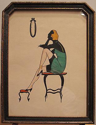 ART DECO FLAPPER GIRL ERA ANTIQUE FRAMED ART ARTWORK PINUP BLONDE DRESS VANITY