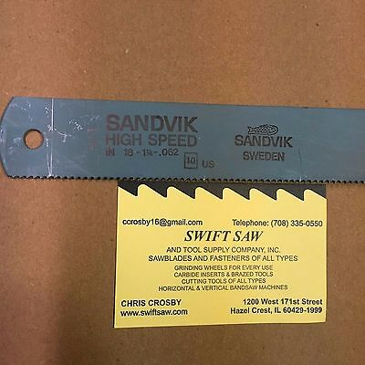 10pcs- 18 X 1-14 X .062 X 10t Power Hack Saw Blade Sandvik High Speed Steel