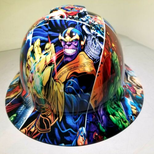 Hard Hat FULL BRIM custom hydro dipped , OSHA MARVEL SUPERHEROES COMIC STRIP