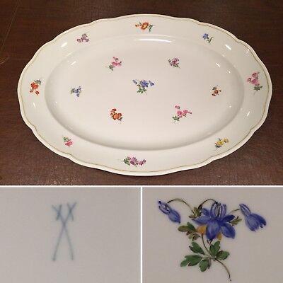"""Vintage Authentic MEISSEN Huge 19.5"""" Scattered Flowers Oval Porcelain Platter"""