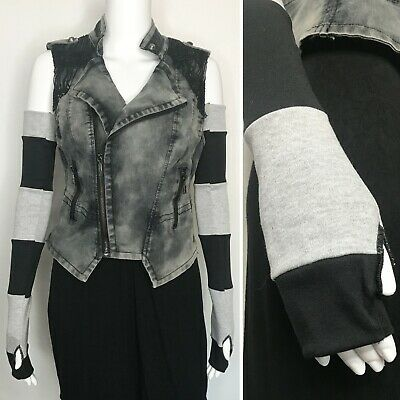 Long Striped Gloves Gray Hand Warmers Black Armwarmers Patchwork Arm Warmers D06 Black Striped Arm Warmers