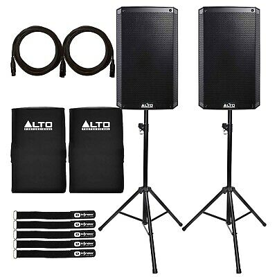 "Alto TS310 10"" 2-Way 2000W Powered Active DJ PA Loud Speakers w Covers & Stands"