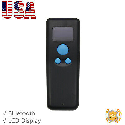 1d Barcode Scanner Wireless Bluetooth Lcd For Android Iphone Pc Laser Version Us