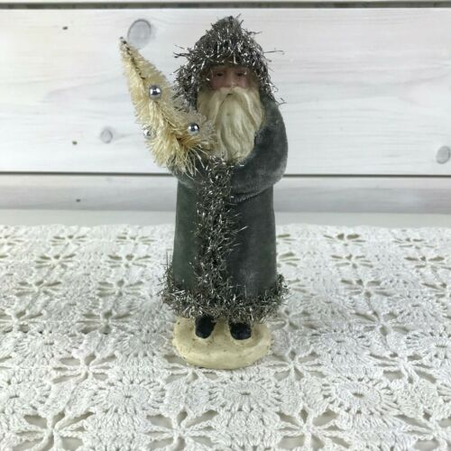 Victorian Santa Claus Figurine Gray Velvet Coat Tinsel Trim Bottlebrush Tree