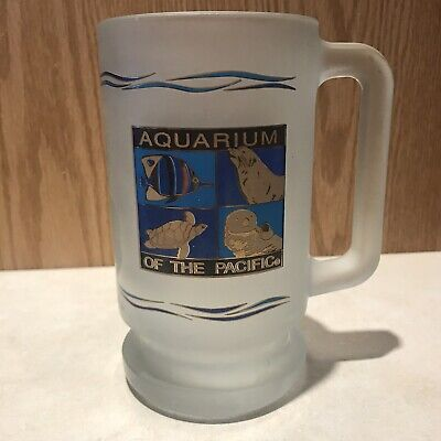 Aquarium Of The Pacific Frosted Glass Beer Mug 16 Oz Long Beach CA