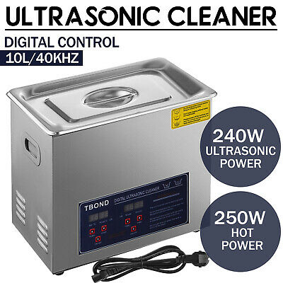 Stainless Steel 10l Liter Industry Ultrasonic Cleaner Heated Heater Wtimer
