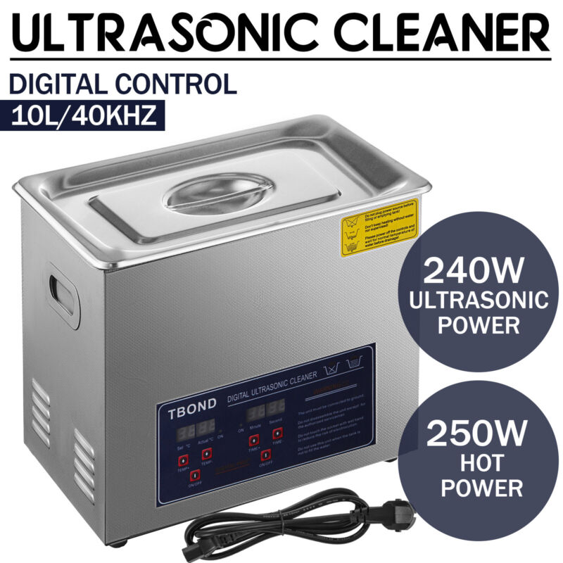 Stainless Steel 10L Liter Industry Ultrasonic Cleaner Heated Heater w/Timer