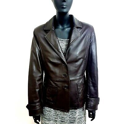Monsoon Womens Leather Jacket Fitted Blazer UK 12 Dark Brown 80s/90s Style