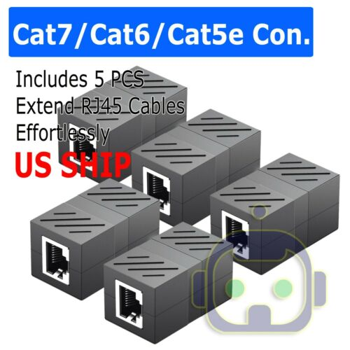 5Pcs Cat5e RJ45 Coupler Plug Network LAN Cable Joiner Extender Connector Adapter