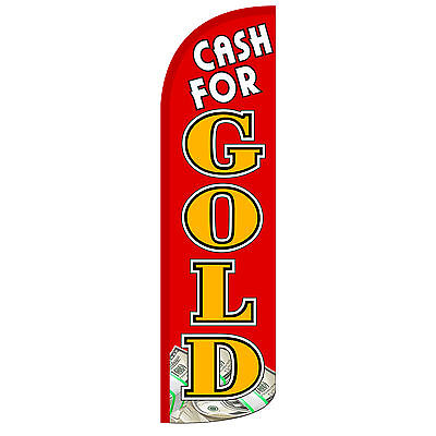 Cash For Gold Red Extra Wide Windless Swooper Flag
