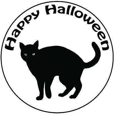 Halloween Black Cat Cake Topper - Easy Pre-cut Round 8