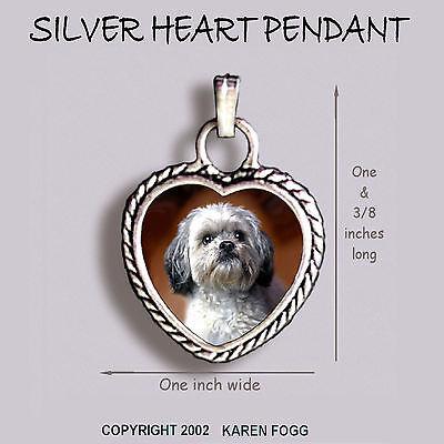 LHASA APSO DOG Sweet Face - Ornate HEART PENDANT Tibetan Silver