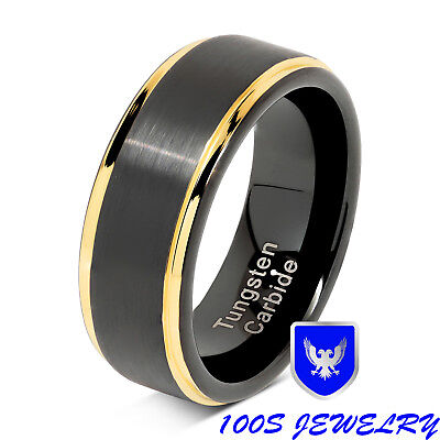 Tungsten Rings For Men Black Gold Two Tone Brushed Wedding Bands Size 8-15