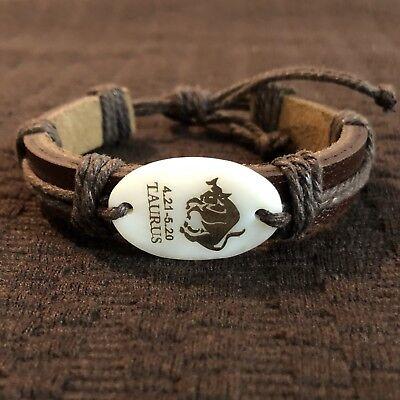 Taurus Horoscope Leather Bracelet Adjustable Fashion Leather Leather Bracelet