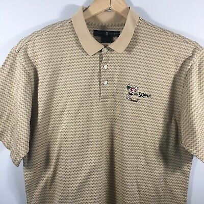 Nike Tiger Woods Men's Large Tan SS Golf Polo Shirt BC Open En-joie Endicott NY