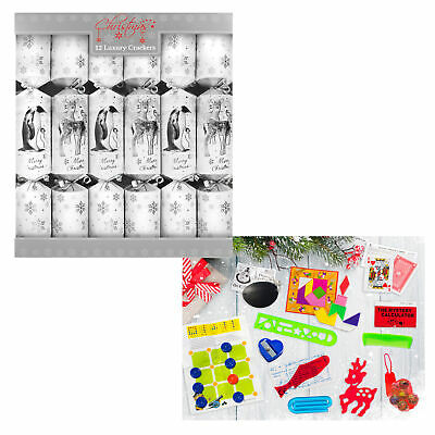 12 Pack Luxury 34cm Christmas Crackers - Animals Silver / White