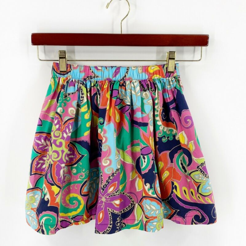 Hanna Andersson Skirt Girls Size 140 (US 10) Floral Blue Purple Colorful Cotton